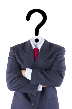 invisible businessman question mark head brain confusion isolated white concept Standard-Bild