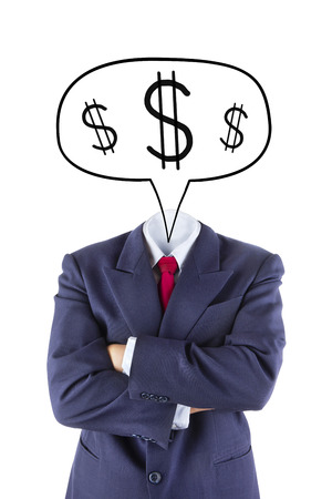 invisible businessman head think about money on white background photo
