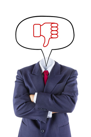 unlike: invisible businessman head say thumb down that he unlike isolated on white background