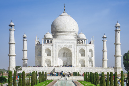 mumtaz: AGRA, INDIA - FEB 23: The people visit Taj Mahal, Agra, India on February 23, 2009. The Taj Mahal is a mausoleum located in Agra, India and is one of the most  recognizable structures in the world  Editorial