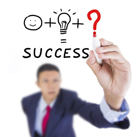 suitability: Concept business drawn what is necessary thing to combine man and idea for success on above whiteboard white background Stock Photo