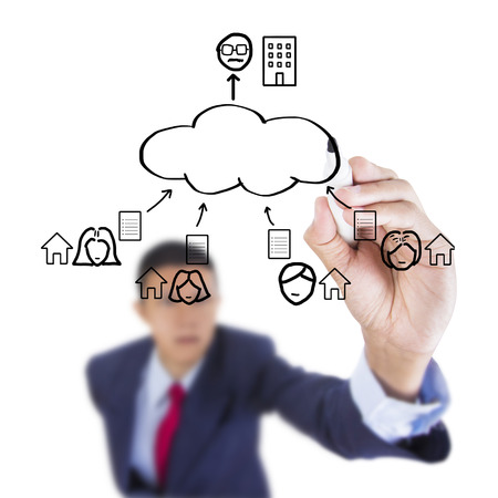Concept business draw benefit connection cloud computing work solution above whiteboard white background photo