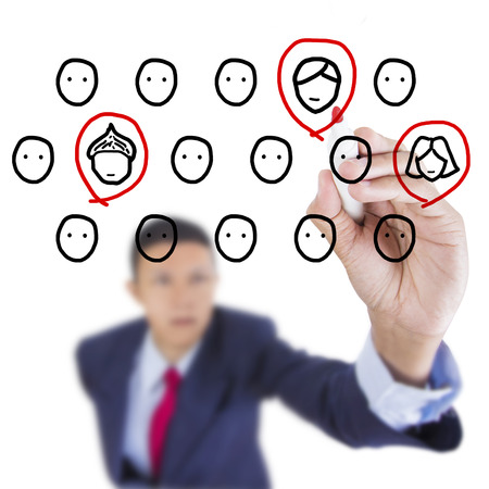 Concept business draw recruitment person for work above whiteboard white background Stock Photo