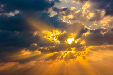 dramatic clouds: Cloud sun beam ray light warm orange color Dramatic background