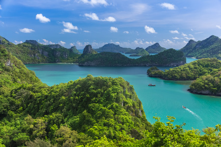 ang thong: Sea beach island sky with bird eye view at Mu Ko Ang Thong. This place is a marine national park in the Gulf of Thailand. Stock Photo