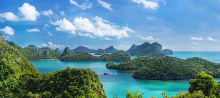 thong: Sea beach island sky with bird eye view panorama at Mu Ko Ang Thong. This place is a marine national park in the Gulf of Thailand.