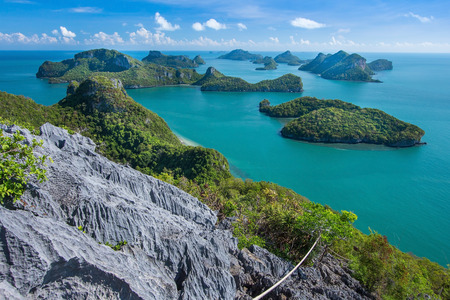 Sea beach island sky with bird eye view at Mu Ko Ang Thong. This place is a marine national park in the Gulf of Thailand. photo