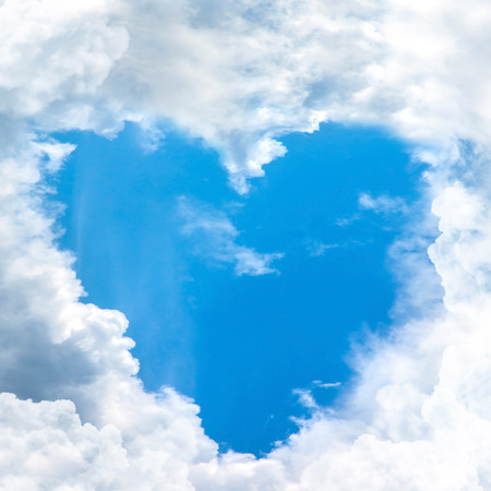 blue sky shape heart from cloud frame