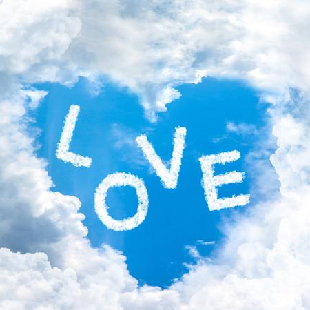 blue sky shape heart from cloud frame