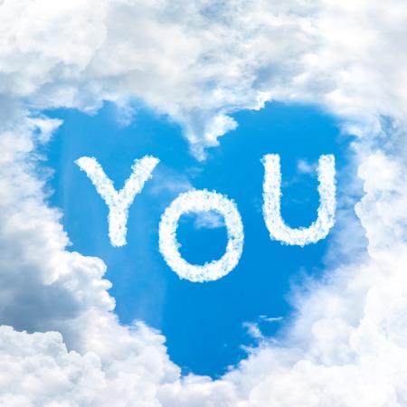 implication: love you inside blue sky shape heart from cloud frame
