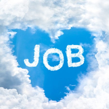 dream for get love job inside blue sky shape heart from cloud frame photo