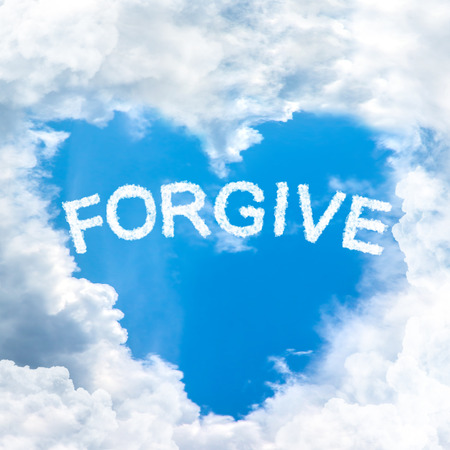 condone: sky cloud forgive concept word inside heart shape