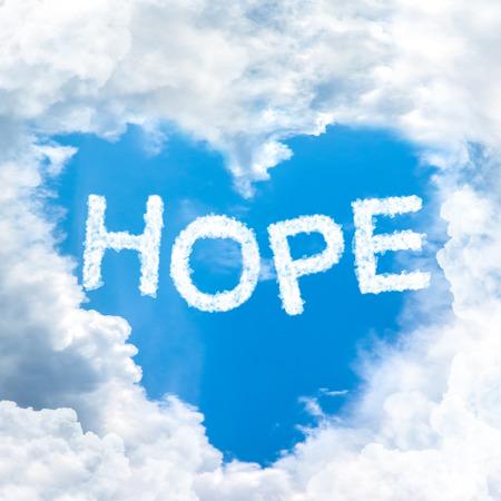 faith hope love: sky cloud hope concept word inside heart shape