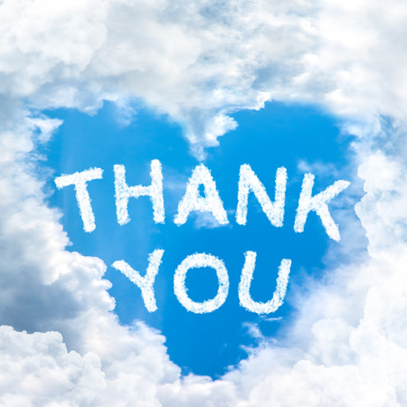 blue you: sky cloud thank you concept word inside heart shape