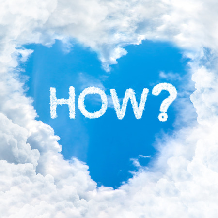 how word on blue sky inside heart cloud form photo