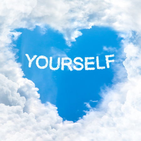 yourself word nature on blue sky inside love heart cloud form