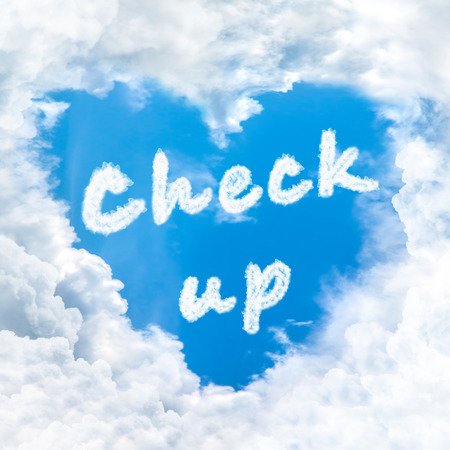 check up: check up word nature on blue sky inside love heart cloud form Stock Photo