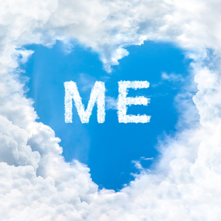 me word on blue sky inside love heart cloud form