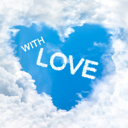 implication: with love word nature on blue sky inside heart cloud form