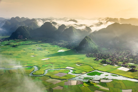 rice field in valley around with mountain in Bac Son, Vietnam.