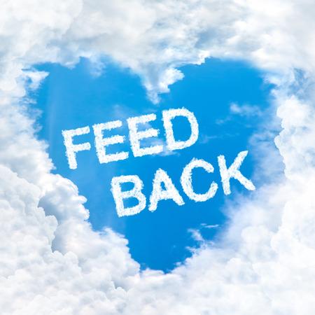 feedback word inside love cloud heart shape blue sky background only