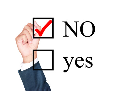 say no tick mark on checkbox by businessman draw on whiteboard white background 스톡 콘텐츠