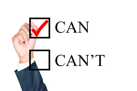 tick box: can do it with tick box word motivation by businessman draw whiteboard on white background