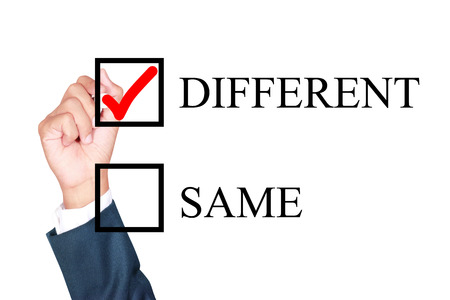tick box: make it different by tick box by businessman draw on whiteboard white background