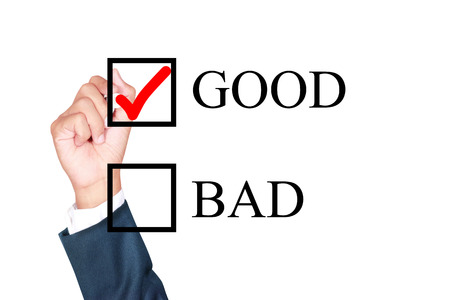 good is answer choose by businessman tick choice whiteboard white background photo