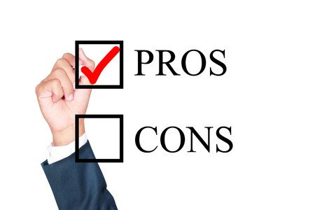 pros is answer choose by businessman tick choice whiteboard white background photo