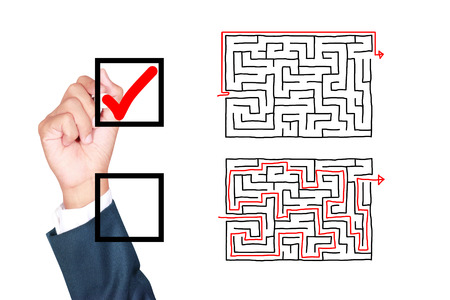 better chances: motivation think outside the box solution for success by businessman tick box on white background
