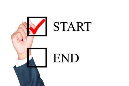 better chances: motivation choose start is better solution for success by businessman tick box on white background