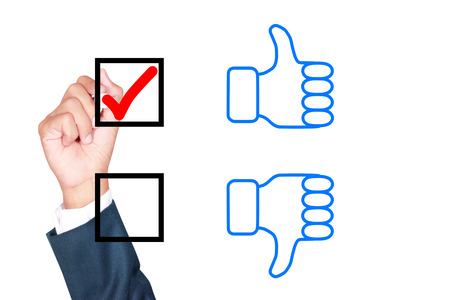 tick box: motivation choose thumb up solution for success by businessman tick box on white background