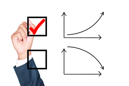 tick box: motivation choose growth solution for success by businessman tick box on white background Stock Photo