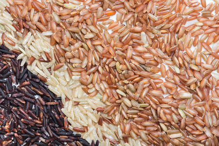only 3 people: Three variety kinds of brown rice, black ,yellow and brown