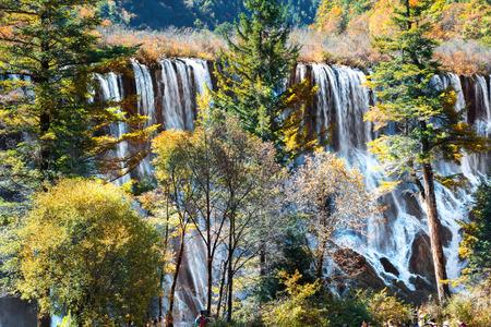 incidental people: Nuorilang Waterfall in Jiuzhaigou National Park scenery spot