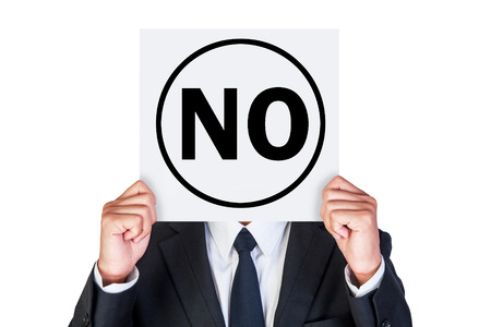Say no concept shown by business man isolated on white background