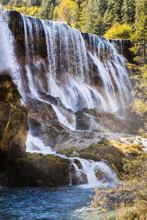 shoal: Pearl Shoal Waterfall jiuzhaigou scenic in Sichuan, China