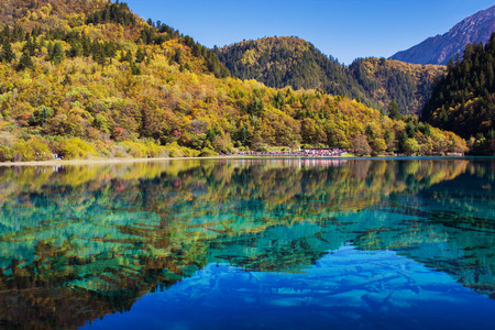 Jiuzhaigou national park, Five Flower Lake is lake in Sichuan, China Stock Photo