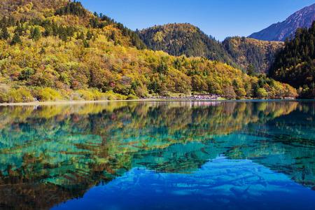 on lake: Jiuzhaigou national park, Five Flower Lake is lake in Sichuan, China Stock Photo