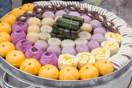 sweet food: Chinese traditional food at the Ciqikou Ancient Town in Chongqing