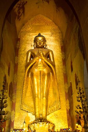 buddha image: Buddha image inside Ananda temple, Bagan, Myanmar.