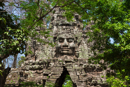 prasat bayon: ancient gate of Prasat Bayon temple, Angkor Thom , is popular tourist attraction in Siem reap, Cambodia