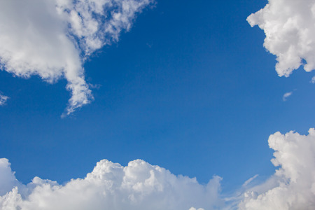 tranquil atmosphere: blue sky cloud frame background Stock Photo