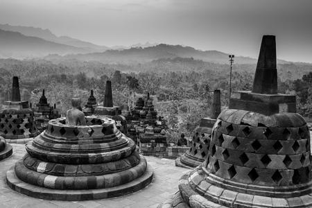YOGYAKARTA: Black and white Borobudur Temple, Yogyakarta, Java, Indonesia.