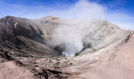 Panorama bromo vocalno crater with gas smoke, East Java, Indonesia