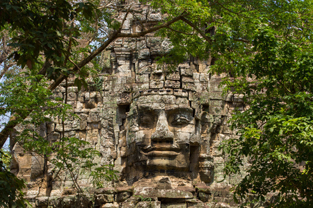 ancient gate of Prasat Bayon temple, Angkor Thom , is popular tourist attraction in Siem reap, Cambodia