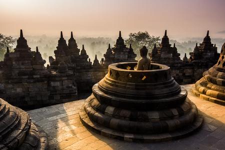 Borobudur Temple at twilight time, Yogyakarta, Java, Indonesia.