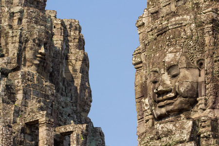 prasat bayon: ancient of Prasat Bayon temple, Angkor Thom , is popular tourist attraction in Siem reap,  Cambodia