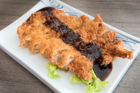 Pork Cutlet Tonkatsu with sauce, Japanese style Stock Photo
